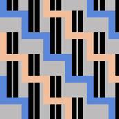 urban stairs - cobalt blue, almond, black, gray