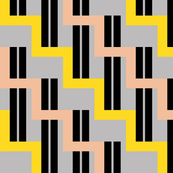 urban stairs - yellow, almond, black, gray