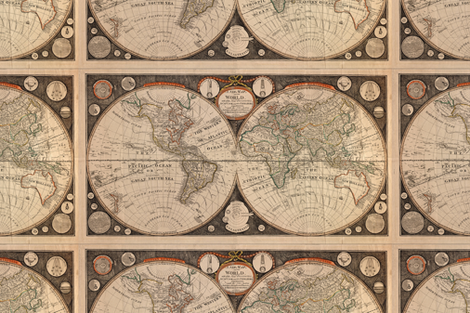 Template - 1799 World Map by Kitchen  - Centered fabric by zephyrus_books on Spoonflower - custom fabric