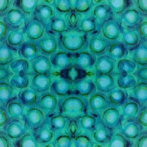 Oil  Painted Aqua  Navy Bubbles