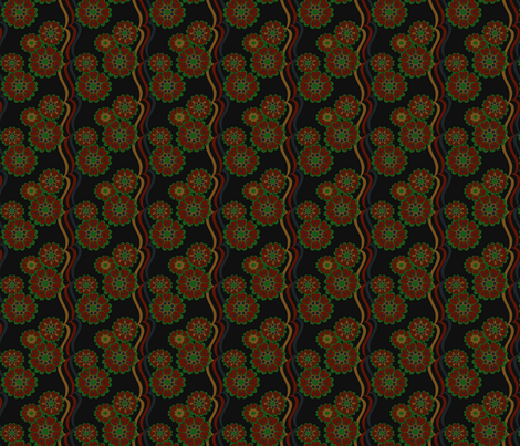 Fall Colors Flower Stripe fabric by olumna on Spoonflower - custom fabric