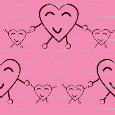 Pink Happy Heart Twins