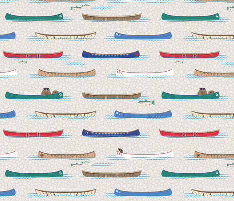 Lake Canoe in Daytime fabric by hootenannit on Spoonflower - custom fabric