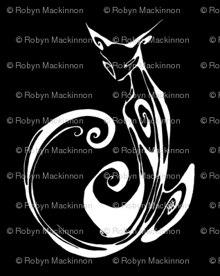 Inkblot Cat on Black
