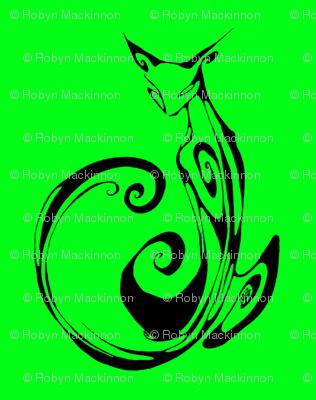 Inkblot Cat on Green