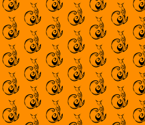 Inkblot Cat on Orange  fabric by art_rat on Spoonflower - custom fabric