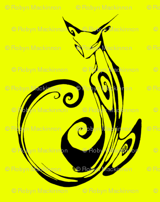 Inkblot Cat on Yellow