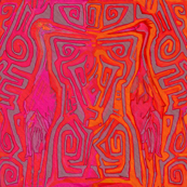 Tiki cranes red pink orange