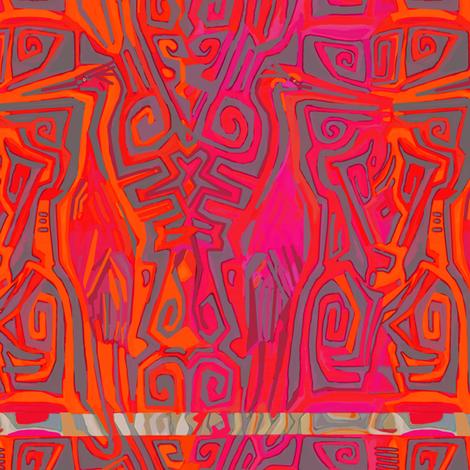 Tiki cranes red pink orange fabric by wren_leyland on Spoonflower - custom fabric