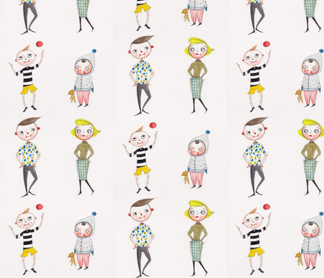 Mid Century Family fabric by jessquinn on Spoonflower - custom fabric