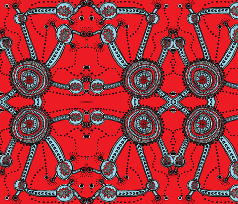 into_the_world_blue-_red fabric by g-mana on Spoonflower - custom fabric