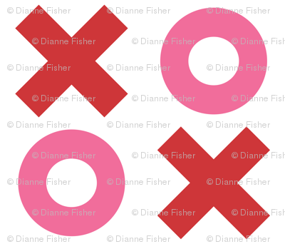 Extra Large Noughts and Crosses - Red and pink on white