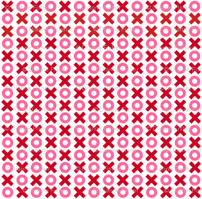 Tiny Noughts and Crosses in red and pink on white