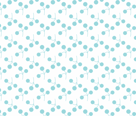 turquoise berries on white fabric by christiem on Spoonflower - custom fabric