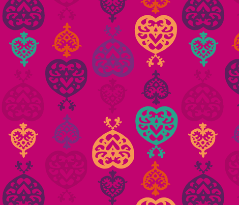 paper_hearts_plum fabric by lfntextiles on Spoonflower - custom fabric