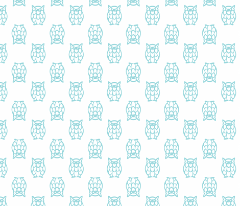 turquoise owls fabric by christiem on Spoonflower - custom fabric