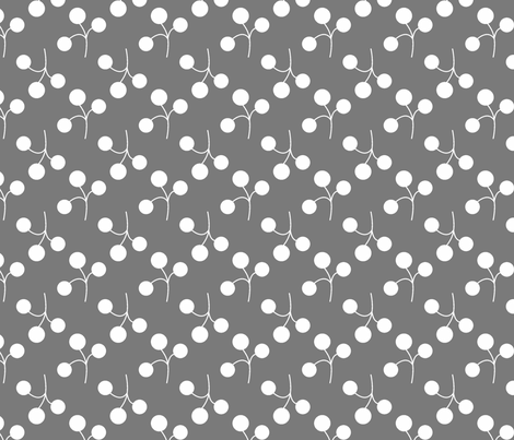 white berries on gray fabric by christiem on Spoonflower - custom fabric