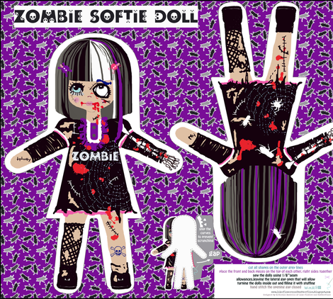 Creepy, but yet sweet zombie doll fabric by katarina on Spoonflower - custom fabric