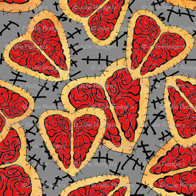 I Heart Brains-Zombie Annabelle dress fabric