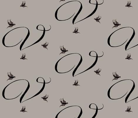 V is for Vivienne fabric by keweenawchris on Spoonflower - custom fabric