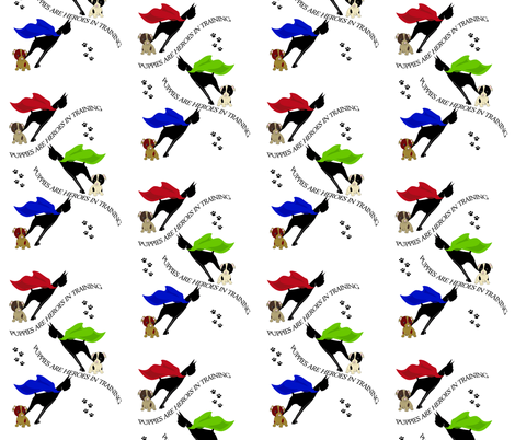 Puppies are heroes in training fabric by tracydb70 on Spoonflower - custom fabric