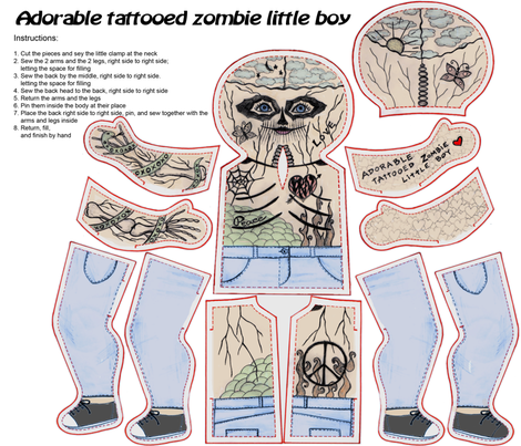 Adorable tattooed zombie little boy fabric by lucybaribeau on Spoonflower - custom fabric