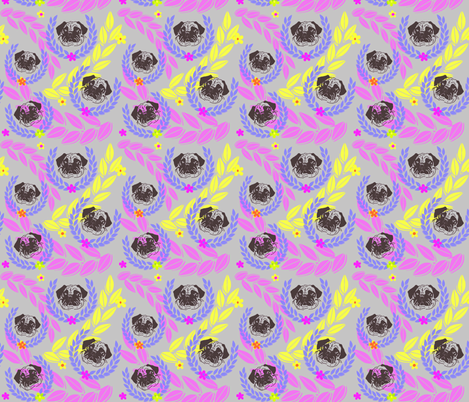 pug fabric and wall paper fabric by lil_creatures on Spoonflower - custom fabric