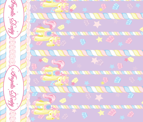 Lovely Horse Derpy-chan: Derpy Carnival Lilac fabric by gabi-hime on Spoonflower - custom fabric