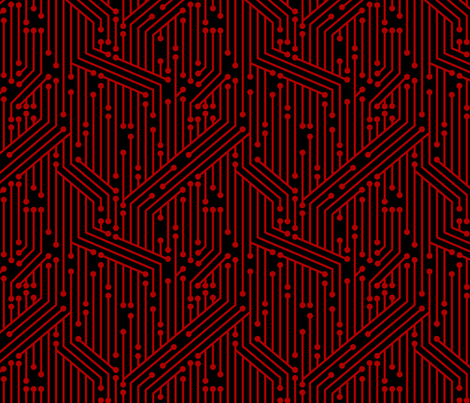Printed Circuit Board (Black & Red) fabric by leighr on Spoonflower - custom fabric