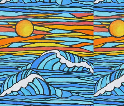 Surf Waves Sunset  fabric by studio_tree on Spoonflower - custom fabric