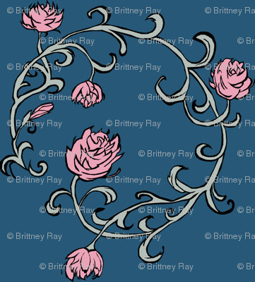 Ring of Roses: Pink on Blue