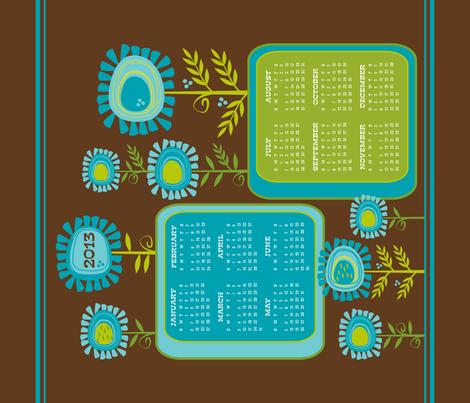 Funky Flowers 2013 Calendar ~ Tea Towel  fabric by retrorudolphs on Spoonflower - custom fabric
