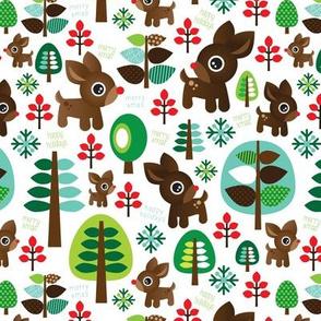 Retro reindeer christmas fabric pattern-ed