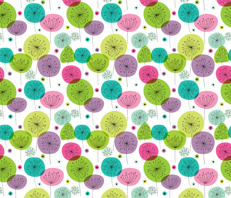 Cute colorful retro style poppy flowers cute floral illustration pastel wallpaper fabric by littlesmilemakers on Spoonflower - custom fabric