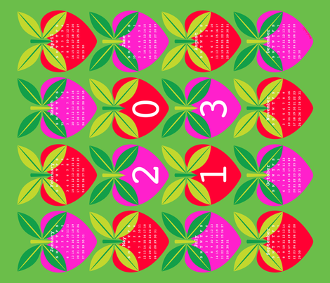 Love Apple 2013 Calendar fabric by nekineko on Spoonflower - custom fabric