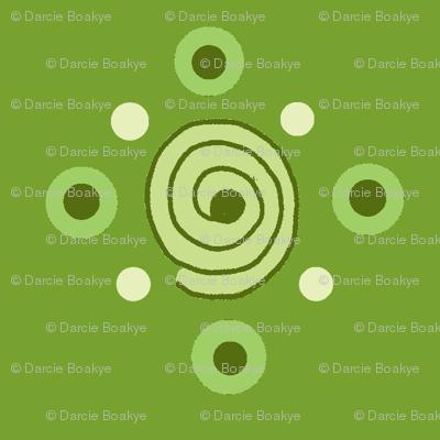 dots and swirls green