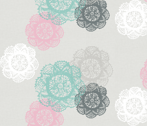 Doilies on linen fabric by katarina on Spoonflower - custom fabric
