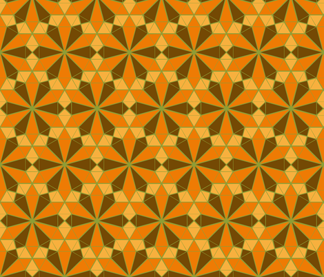 Colorful Tessellated Floral Wheel - Orange, Brown, Yellow, Green fabric by zephyrus_books on Spoonflower - custom fabric