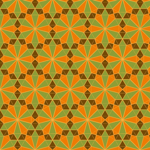 Colorful Tessellated Floral Wheel - Green, Orange, Brown, Yellow