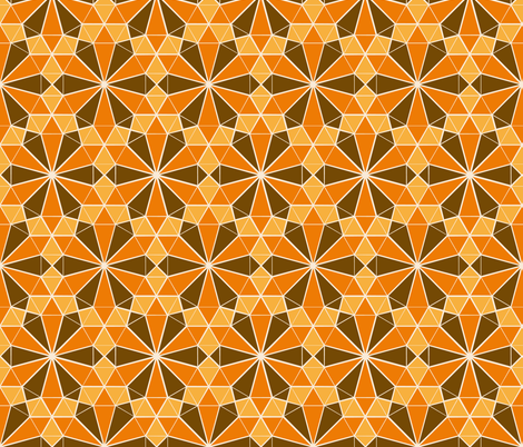 Colorful Tessellated Floral Wheel - Orange, Brown, Yellow fabric by zephyrus_books on Spoonflower - custom fabric