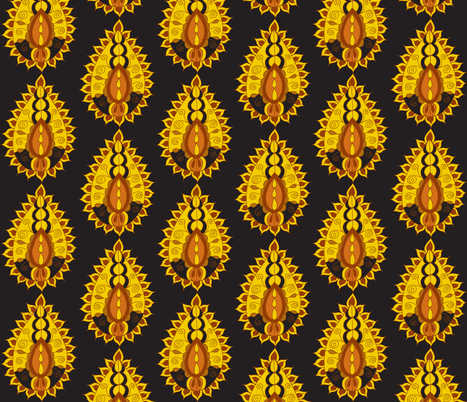 earth paisley teardrop black fabric by dnbmama on Spoonflower - custom fabric
