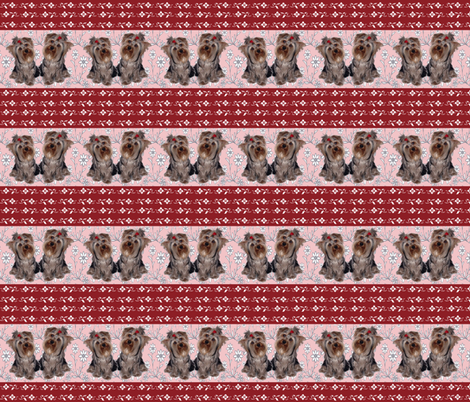 Yorkies and flowers fabric by dogdaze_ on Spoonflower - custom fabric