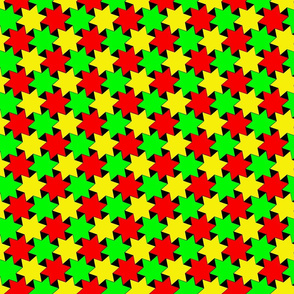 Green Yellow and Red Stars on Black Backgrond