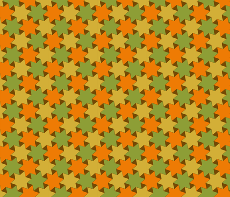 Orange Gold and Green Stars on Brown Backgrond fabric by zephyrus_books on Spoonflower - custom fabric