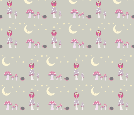 The Owl and the Moon Pinks fabric by beccanom on Spoonflower - custom fabric