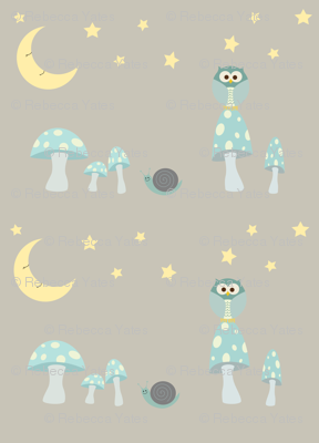 The Owl and the Moon in frosty blues