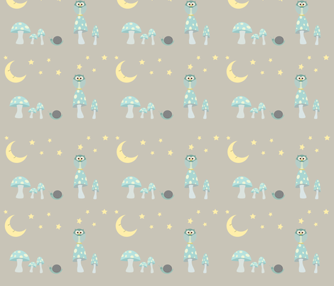The Owl and the Moon in frosty blues fabric by beccanom on Spoonflower - custom fabric