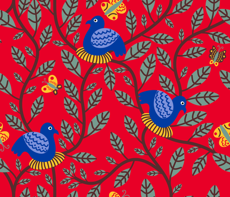 Vine & NestingBirds fabric by yellowstudio on Spoonflower - custom fabric