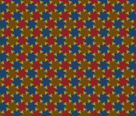 Blue Yellow Red Stars on Green Background fabric by zephyrus_books on Spoonflower - custom fabric