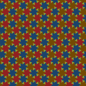 Blue Yellow Red Stars on Green Background